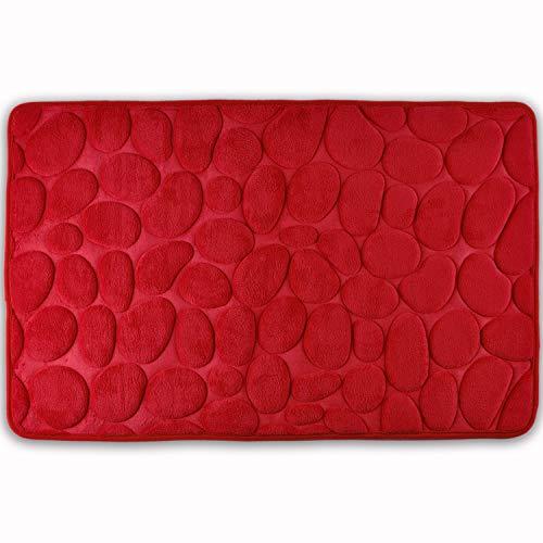 WohnDirect Badezimmerteppich mit Memory Foam - Rutschfester Badteppich - Badematte waschbar & schnelltrocknend auch ideal als Duschvorleger - Badvorleger 50 x 80 cm - Rot