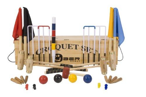 Übergames Junior Excecutive Krocket Set mit 4 Schlägern aus ECO Holz mit Holzbox