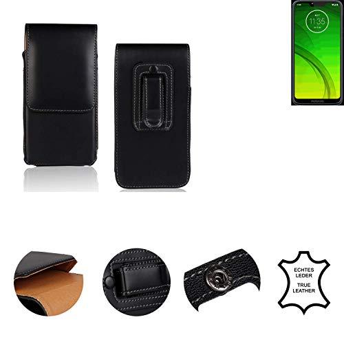 K-S-Trade® Holster Gürtel Tasche Für Motorola Moto G7 Power Handy Hülle Leder Schwarz, 1x