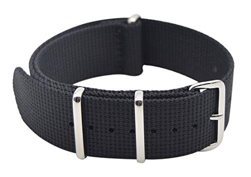 ArtStyle Watch Band with Thick Nylon Material Strap Polished Stainless Steel Buckle (20mm, Black)
