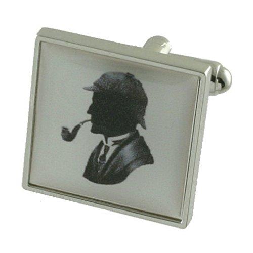 Sherlock Police Detective Design lourde solide Argent sterling 925 Boutons de manchette + cadeau personnalisé Message Boîte à boutons de manchette