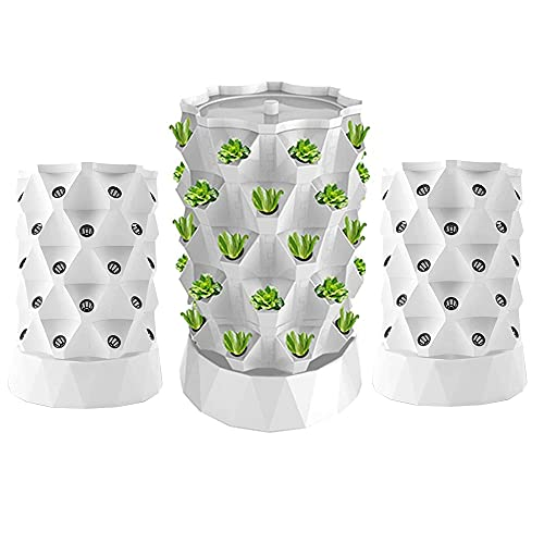 ZXMT 40 Pots Hydroponics Tower Aquaponics Grow System Garden Tower Aeroponics Growing Kit for Indoor & Outdoor - Herbs, Fruits and Vegetables - Hydrating Pump, Timer, Adapter, Seeding Bed & Net Pots
