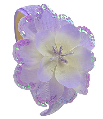 Girls Celeste Silk Flower Glitter Arch Headband (Lavender)