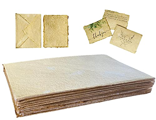 """Deckled Edge Paper - 20 Sheets of Vintage Paper with Envelopes – Antique Paper Sheets for Watercolor & Letters   4' x 6"""" Decorative Paper   Mixed Media Paper   Handmade Paper Sheets of Aged Paper"""