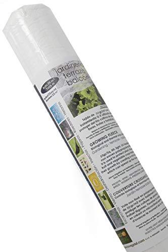 Espacio Vegetal Malla ANTIHELADA 50gr. Rollo de 25m². Medidas 1 x 25m. Protege de Bajas temperaturas los Cultivos de Plantas, Flores, hortalizas y Frutas.