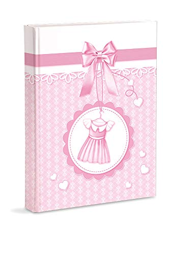 Mareli Álbum de fotos, color rosa, nacimiento, niña, con diario, 23 x 30 cm, 56 páginas blancas y 4 páginas diarias personalizables, páginas de cartón grueso y resistente intercaladas de pergamino