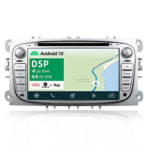 YUNTX PX6+DSP Android 10 Autoradio Adatto per Ford Focus/Mondeo/S-Max/Connect/Galaxy - [4G+64G] - GPS 2 Din - Telecamera Posteriore Gratuiti -Supporto DAB/Bluetooth 5.0/Controllo del volante/WiFi/HDMI