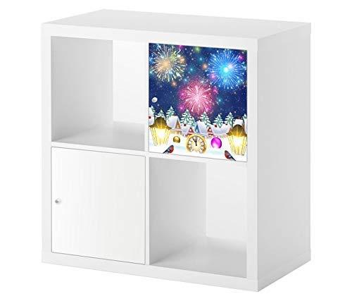 Möbelaufkleber für Ikea KALLAX / 1x Türelement Feuerwerk Sylvester Himmel Weihnachten 12 Uhr Kat2 Kinderzimmer Winter KL1 Aufkleber Möbelfolie sticker (Ohne Möbel) Folie 25D2521