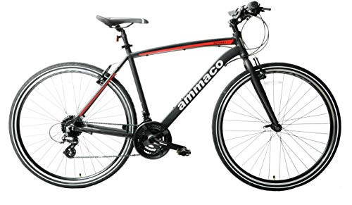 Ammaco Pathway X2 Bike Mens Hybrid Trekking Sports Commuter Bike 700c Wheel 19' Frame Alloy Silver Black Red 24 Speed