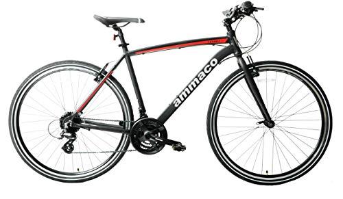Ammaco Pathway X2 Bike Mens Hybrid Trekking Sports Commuter Bike 700c Wheel 19' Frame Alloy Silver Black Red 24 Speed