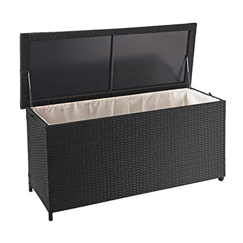Mendler Coffre à Coussins en polyrotin, HWC-D88, Coffre Jardin ~ Premium Noir, 63x135x52 cm, 320l