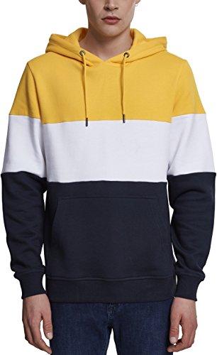 Urban Classics 3-Tone Hoody Sweatshirt à Capuche, Multicolore (Chrome Yellow/White/Navy 01233), L Homme