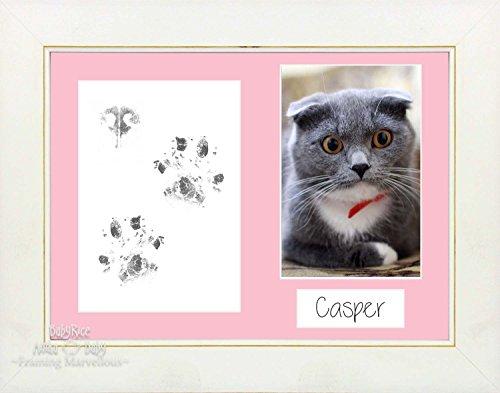 Anika-Baby Kit de pattes de chat animaux avec cadre – choisissez monter Blanc délavé Cadeau de couleur Chatons de mémoire empreintes personnaliser vous-même