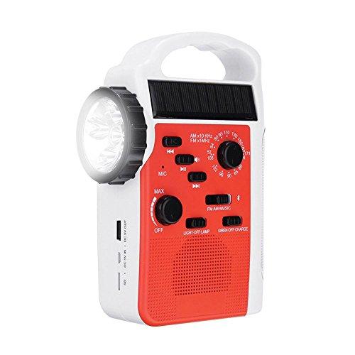 SODIAL AM / FM Bluetooth Solaire Manivelle Dynamo Radio Exterieure Avec Haut-Parleur Recepteur D'urgence Mobile Alimentation Lampe de Poche