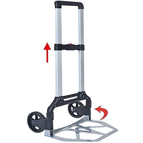 Carretilla plegable de aluminio para cargas pesadas, ruedas grandes y suaves con superficie de rodadura suave, color: negro + aluminio (150 kg)