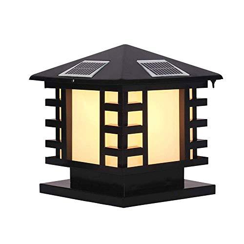 Luces de gorra de poste solar modernas, lámparas de columna de aluminio led de aluminio Lámparas de pilares al aire libre patio de la calle Calle Top Top Muro Impermeable Jardín Luces de paisaje AOIWE