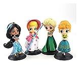 4 Unids / Set 14Cm Q Posket Figura De Juguete Arale Princesa Anna Elsa Jasmine Enredado Rapunzel Bo ...