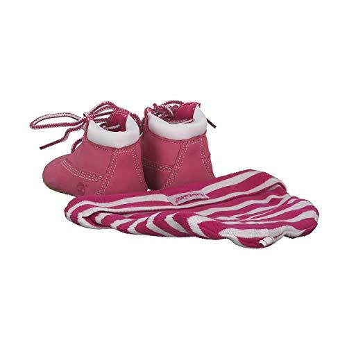 Timberland Crib Bootie With Hat (Infant), Unisex Babies' Birth Shoes, Medium Pink Nubuck, 3.5 Child UK (20 EU)