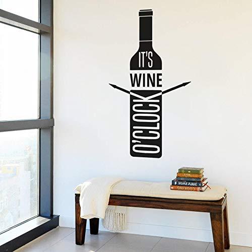 Diseño It's Wine O'Clock Qutes Uva Botella de vino tinto Cerveza Bebida Tiempo Bar Pub Etiqueta de la pared Calcomanía de vinilo Dormitorio Sala de estar Oficina Club Decoración del hogar Mural