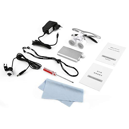 Lupas dentales 3.5X 420mm Gafas quirúrgicas con luz de cabeza LED portátil Equipo dental Dentistas quirúrgicos Lupa - Plateado