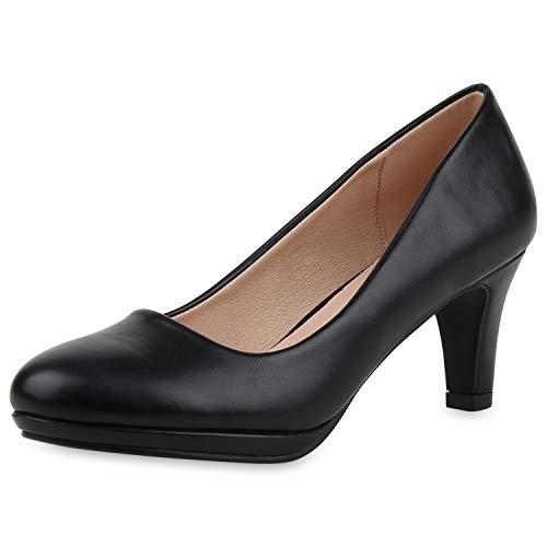 SCARPE VITA Klassische Damen Pumps Absatzschuhe Leder-Optik Schuhe Elegante Abendschuhe 188951 Schwarz Schwarz Total 39