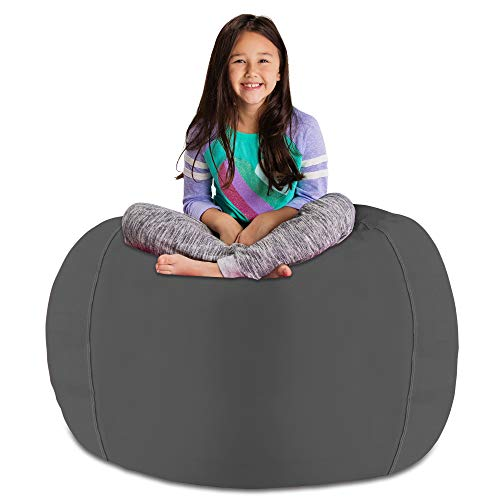 Posh Stuffable Kids Stuffed Animal Storage Bean Bag Chair Cover - Childrens Toy Organizer, X-Large 48' - Heather Gray