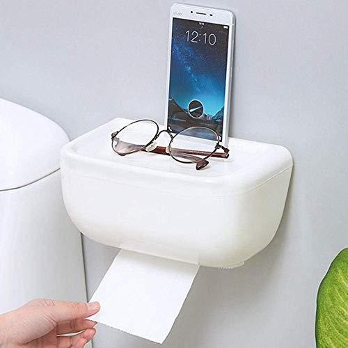 ZLININ Soporte multifunción para papel higiénico, autoadhesivo, sin perforación, caja de pañuelos para baño