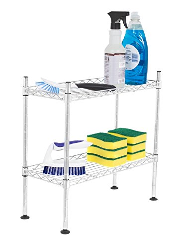 Internet's Best 2-Tier Mini Wire Utility Shelving | Chrome | Shelf | Adjustable Rack Unit | Kitchen Bathroom Pantry Laundry Storage | Under The Sink Organization | Organize Your Cabinets