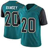 Rugby Jersey Polo Football Shirt for Men, Jaguars 20# Ramsey American Jersey, Elite Edition Sleeve Print Top Embroidery Short-Blue-XXL