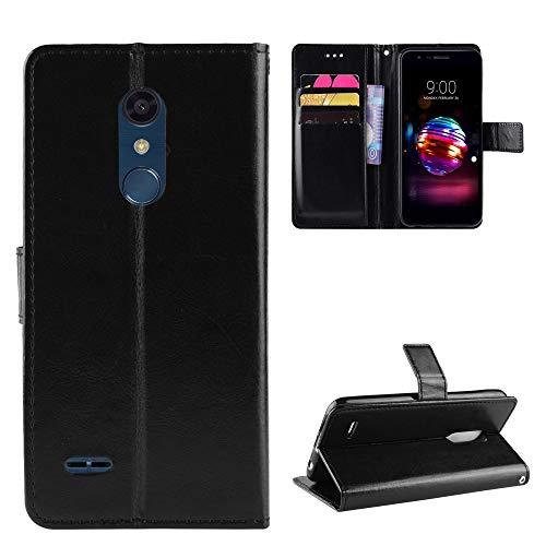 Funda de piel tipo cartera para LG K30/Premier Pro/Harmony 2/Xpression Plus con función de soporte a prueba de golpes, tapa para LG K10 2018 - COBYU030717 Negro
