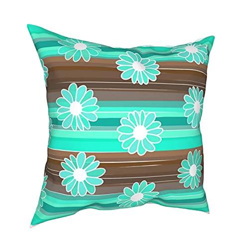 Reebos Funda de almohada decorativa de 45,7 x 45,7 cm, diseño de flores y rayas, color marrón y turquesa