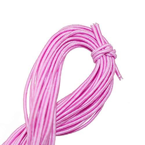 SQJU 0.8MM * 25M Core Hallazgos de Hilo elástico Perlas Joyería Cuerda Herramienta de Mano Estiramiento Línea de Goma Jade Pulsera Collar Alambre Trenzado, Rosa Claro