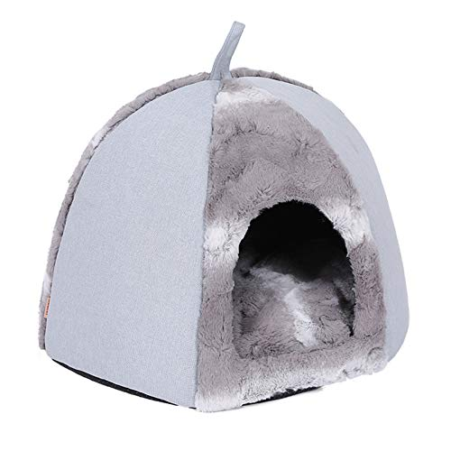 WOCAO Cuddly Cat Cave Cat Bed with Super Soft Fluffy Inner Pillow - Cat Tent Cat Basket for Sleeping for Small To Medium-Sized Cats (Washable),S:45 * 45 * 32cm