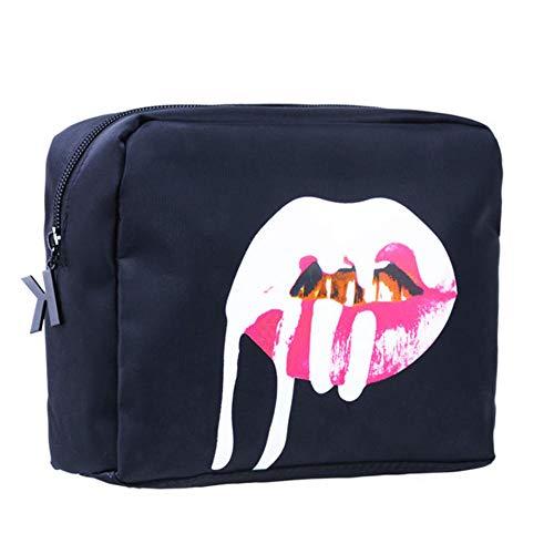Maquillage Sac Femmes Cosmétique Fourre-Tout Sac Zipper Mode Grand PU De Stockage De Voyage Organisateur19 * 10 cm-Bleu_19 * 10 cm