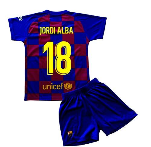 Champion's City Set Trikot und Hose für Kinder zur Erstausstattung – FC Barcelona – Replik – Spieler 6 Jahre 18 - Jordi Alba