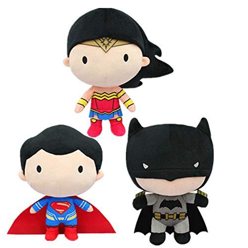 letaowl Peluches Doudou Justice League Superman Batman Wonder Woman Peluche en Peluche Jouets Mignon Super Héros Poupées pour Enfants Cadeaux De Noël pour Enfants Style Aléatoire