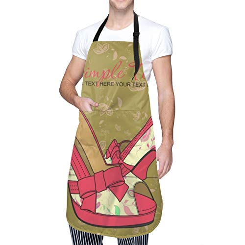 xiang Fashion Shoes with Floral Print Waterproof Adjustable Bib Waist Kitchen Unisex Apron with Pocket, Fashion Design, Durable Best for Women Men for Artist Restaurant Kitchen