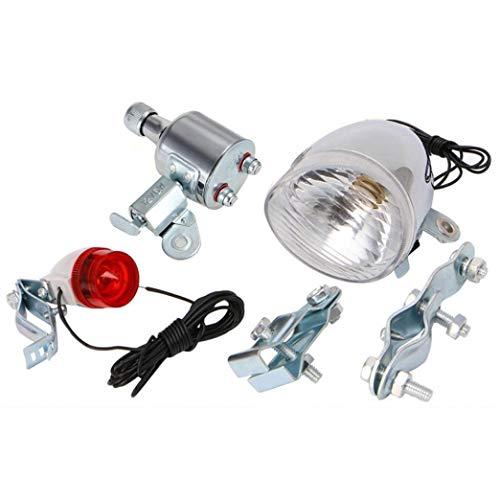 XWYWP Juego de luces de bicicleta para bicicleta con dinamo y faro trasero y luz trasera para bicicleta Set de luces de bicicleta con dinamo