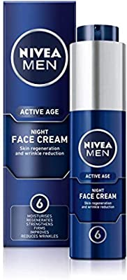 NIVEA MEN ACTIVE AGE Night Regenerator (50 ml), Anti Ageing Cream with Creatine and Caffeine, 6 in 1 Moisturising Night Cream For Men