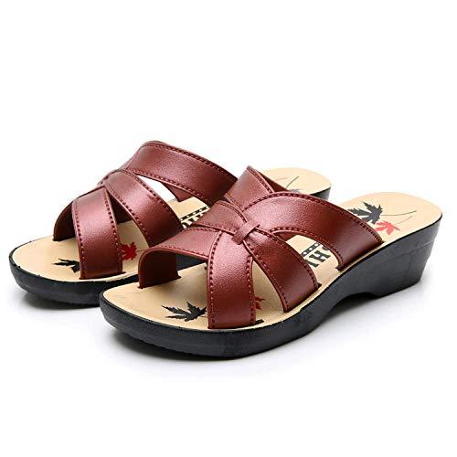ypyrhh Zapatos para la Ducha y la Playa,Zapatillas de Madre Casuales, Pendiente de Mujer con Zapatillas de tacón Grueso Antideslizantes-Pendiente B con Rojo_39,Chanclas Infantiles Havaianas