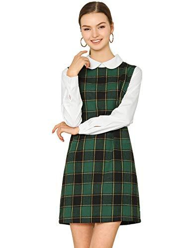 Allegra K Women's Contrast Peter Pan Collar Long Sleeve Shift Plaid Dress Green S (US 6)
