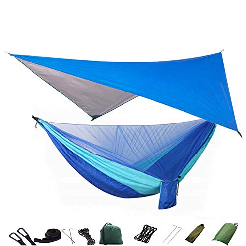 Gifftiy Support Hamac Chaise Support Hamac Bois Camping Hamac Moustiquaire Et Hamac Canopy Portable Nylon Hamac Pluie Fly Fly Tree Sangles pour Randonnée Camping Survie Voyage-O