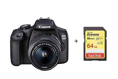 Canon EOS 2000D DSLR Camera and EF-S 18-55 mm f/3.5-5.6 IS II Lens with Sandisk 64G Memory Card