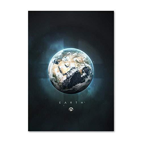SYLSBAZGYS Planète Terre Jupiter Mercure Uranus Mars Affiches et Impressions Nordiques Art Mural Toile Peinture Mur Photos pour Salon décor Pas de Cadre-B_40x50cm