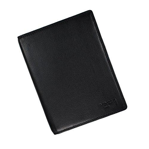 Titel: NFC/RFID Schutz Reisepass Klapphülle, hochwertiges Leder schwarz - von THEMIS Security - geprüftes Abschirmmaterial - verhindert das Auslesen von NFC/RFID Chips