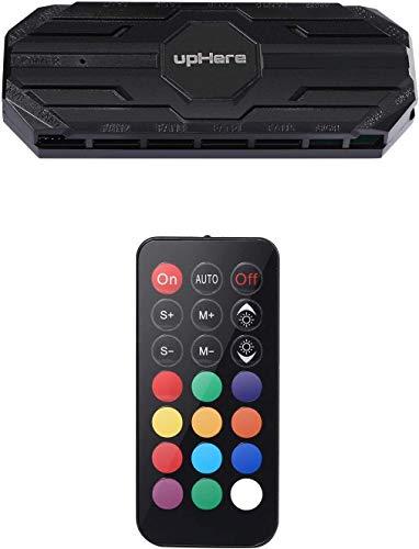 upHere 10 Port 6PIN SATA RGB Hub mit 21 Tasten FernbedienungSplitter fur 6 Pin Gehauselufter in SchwarzMBX10