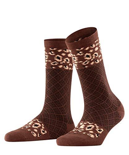 Burlington Damen Punk Check W SO Socken, braun (Dark Brown 5230), Einheitsgröße (DE 36-41)