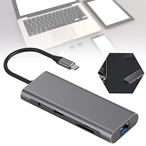 USB C Hub DUAL-Display,12 Port Aluminum Type C Adapter,4K HDMI, USB 3.0 Ports,TF/SD Card Reader,Type C PD, Gigabit Ethernet RJ45,3.5mm Audio Jacket Compatible MacBook Air/Pro,More Type C Devices