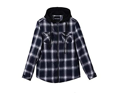 ZENTHACE Mens Thermal Fleece Lined Zip Up Hoodie Plaid Flannel Shirt Jacket Navy/White S