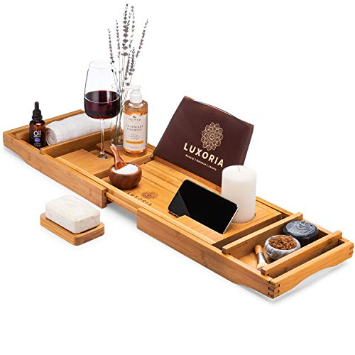 LUXORIA Expandable Bathtub Caddy Tray - Water Resistant Bamboo Bath Table with Detachable Trays, Non-Slip, Bathtub Tray with Glass and Phone Holder, Plus Free Soap Holder